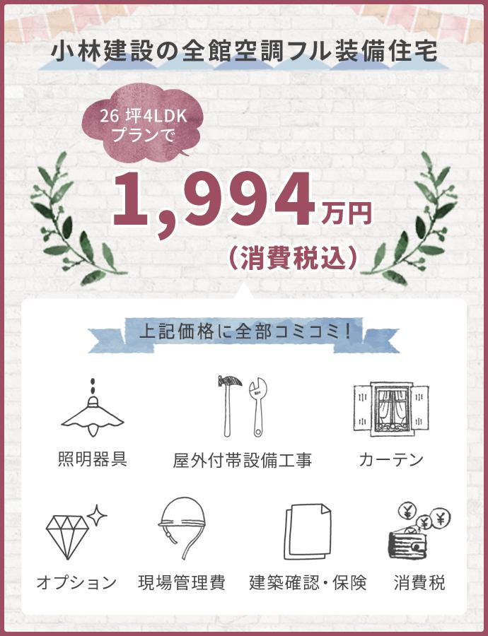 小林建設の全館空調フル装備住宅 30坪4LDKプランで1898万円(消費税込)